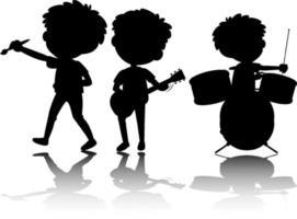 ensemble, de, enfants, silhouette, à, réflexe, blanc, fond vecteur