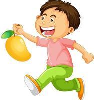 personnage de dessin animé garçon heureux tenant une mangue vecteur