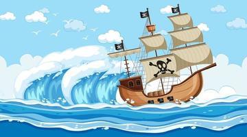 scène de l & # 39; océan au moment de la journée avec un bateau pirate en style cartoon vecteur