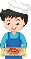 personnage de dessin animé d'un chef garçon tenant un plateau de pizza vecteur