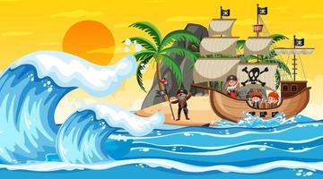 océan avec bateau pirate à la scène du coucher du soleil en style cartoon vecteur
