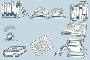 croquis dessiné à la main sur le thème de la littérature. ensemble de piles de livres en papier, bibliothèque à domicile, étagère et stylo avec de l'encre. école d'éléments de griffonnage. concept d'éducation, temps de livre. croquis de gravure de vecteur