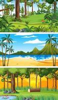 trois scènes horizontales de nature différente vecteur