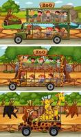 ensemble de différentes scènes horizontales de safari avec des animaux et des enfants vecteur
