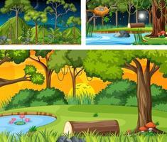 différentes scènes horizontales de nature en style cartoon vecteur