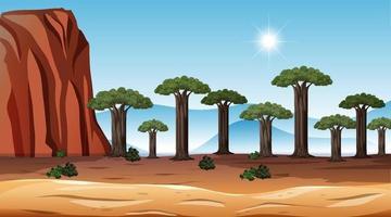 Scène de paysage de forêt de savane africaine au moment de la journée vecteur
