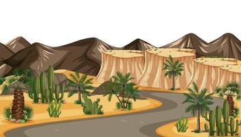 route du désert belle lumière du soir dorée au coucher du soleil vecteur