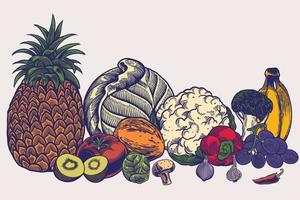 grande collection de modèles de croquis dessinés à la main modèles de végétariens régime repas nutrition végétarienne naturelle smoothie cocktail céréales légumes fruits illustration de mode de vie sain. vecteur