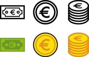 jeu de monnaie en papier et de pièces de monnaie vecteur