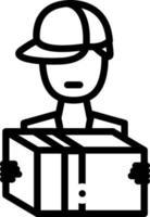 icône de la ligne pour le livreur vecteur