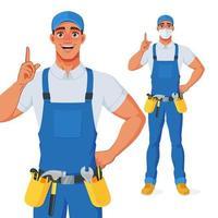 bricoleur en salopette et ceinture porte-outils pointant le doigt vers le haut pour donner des conseils. personnage de dessin animé de vecteur. vecteur