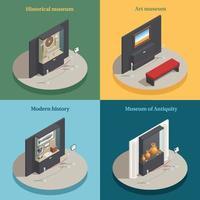 musée vitrine 4 icônes isométriques vector illustration