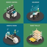 illustration vectorielle de fabrication intelligente icônes isométriques concept vecteur