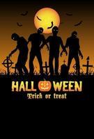 zombies d'halloween dans un cimetière vecteur