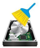 disque dur interne avec une brosse de nettoyage vecteur