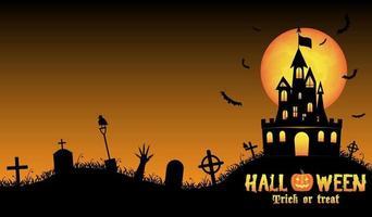 fond d'halloween avec vieux château dans le cimetière vecteur