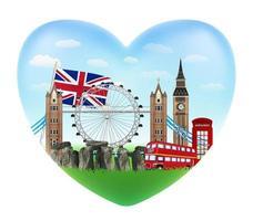 amour angleterre logo en forme de coeur avec drapeau angleterre vecteur