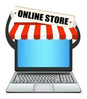 ordinateur portable avec bannière de boutique en ligne vecteur
