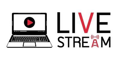 logo de flux en direct pour ordinateur portable vecteur