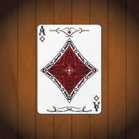 As de diamants, fond de bois verni carte poker vecteur