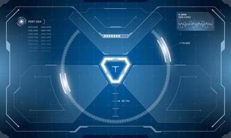 Conception d'écran cyberpunk d'interface futuriste numérique vr hud. Affichage tête haute de la technologie de réalité virtuelle de science-fiction. illustration vectorielle de hi tech technologie numérique gui ui tableau de bord panneau vecteur