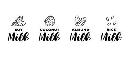 Ensemble de logo de lait de soja, d'amande, de noix de coco et de riz. ensemble d'éléments de conception de badge linéaire d'emballage. Boissons végétaliennes saines dessinés à la main vecteur