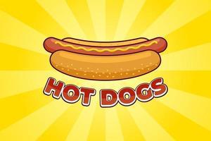 hot-dog de repas de restauration rapide de dessin animé avec le modèle de conception d'affiche publicitaire de restaurant d'inscription. saucisse de hot-dog dans du pain avec illustration de promo vecteur plat moutarde sur les rayons jaunes