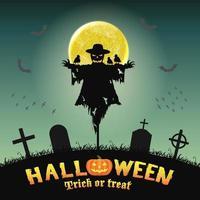 épouvantail silhouette halloween dans le cimetière de nuit vecteur