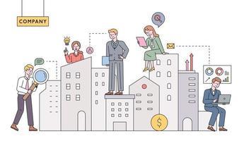 gestionnaires immobiliers. des violons d'affaires travaillent autour d'immeubles de grande hauteur. illustration vectorielle minimale de style design plat. vecteur
