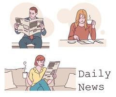 les gens lisant le journal. illustrations de conception de vecteur de style dessiné à la main.