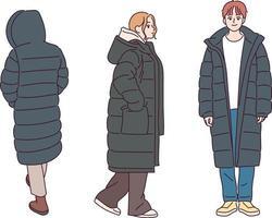 les gens portant des doudounes d'hiver. illustrations de conception de vecteur de style dessiné à la main.