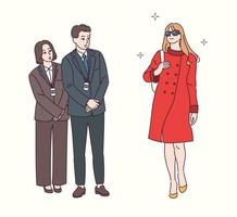 une femme à la mode marche et le personnel est admiratif. illustrations de conception de vecteur de style dessiné à la main.
