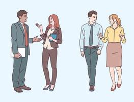 les partenaires commerciaux ont une conversation ensemble. illustrations de conception de vecteur de style dessiné à la main.