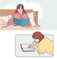 les gens lisant des livres dans une position confortable. illustrations de conception de vecteur de style dessiné à la main.