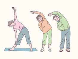 les personnes âgées qui font des étirements. illustrations de conception de vecteur de style dessiné à la main.