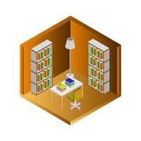 salle de bibliothèque isométrique vecteur