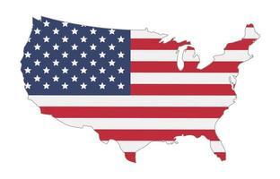 Carte des États-Unis d'Amérique drapeau vecteur