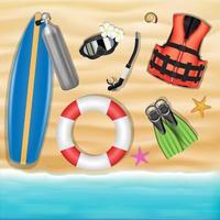 objets de plongée sous-marine sur une plage de sable vecteur