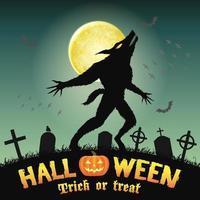 loup-garou silhouette halloween dans un cimetière de nuit vecteur