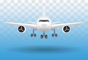 avion atterrissant sur le vecteur de fond transparent