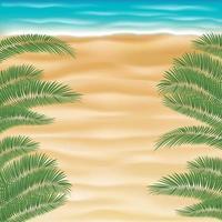 vue de dessus plage de sable de mer avec feuille de cocotier vecteur