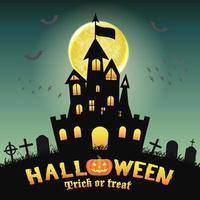 Château de silhouette d'halloween dans un cimetière de nuit vecteur