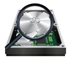 à l'intérieur du disque dur interne avec une numérisation en loupe vecteur