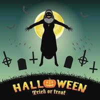 Halloween maléfique nonne dans un cimetière de nuit vecteur