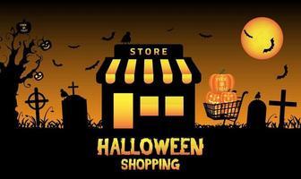 halloween magasin boutique dans un cimetière vecteur