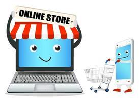 boutique en ligne d'ordinateur portable avec téléphone intelligent et panier vecteur