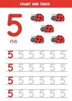 traçage de la feuille de calcul des nombres avec de jolies coccinelles. trace numéro 5. vecteur