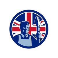 artiste, tenue, brosse, torche, drapeau britannique, mascotte vecteur