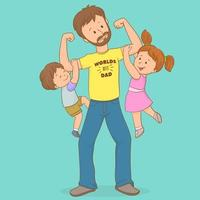 père portant son fils et sa fille, fête des pères vecteur
