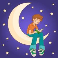 un garçon musulman assis sur la lune lisant le coran vecteur